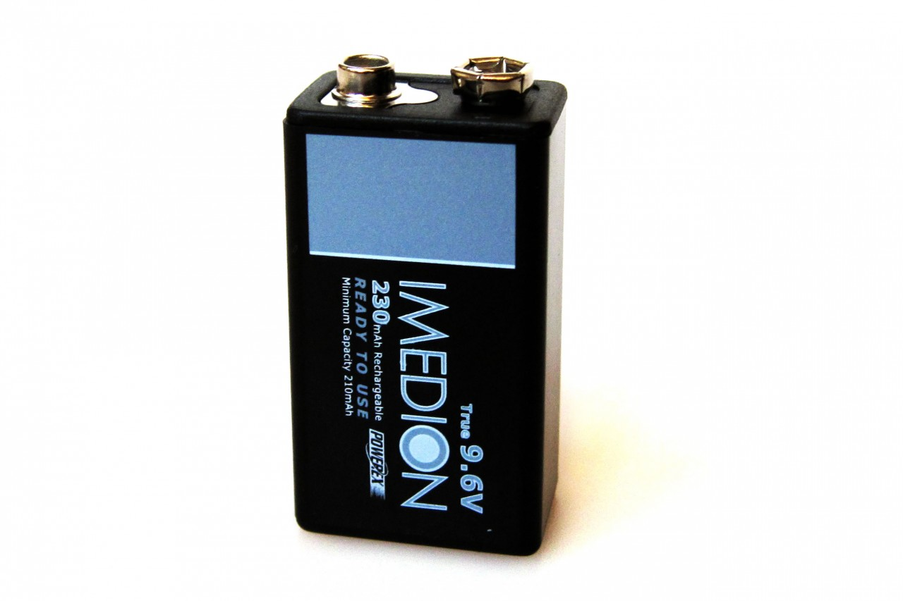 PowerEx IMEDION Rechargeable 9V Battery - True 9.6V  230mAh  Ultra Low Self-Discharge
