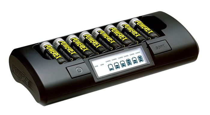 Maha PowerEx MH-C801D 1-Hour Eight Cell AA/AAA Battery Charger  Add 8-pack PowerEx 2700mAh   UK Powercord