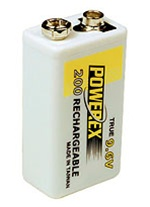 PowerEx Rechargeable 9V Battery - True 9.6V  NiMH 230mAh