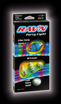 Rave LED Party Light, contains flashing led lights for rave dancing.