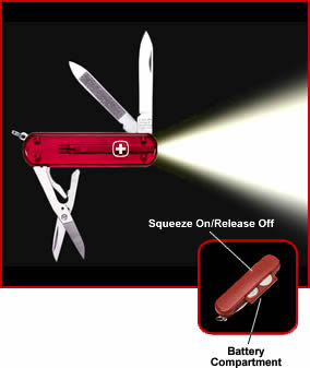 swiss army knife light, penknife with built in led flashlight